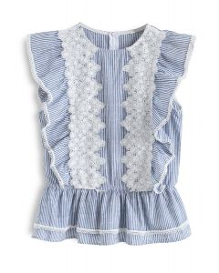 There Be Delight Crochet Stripe Sleeveless Top