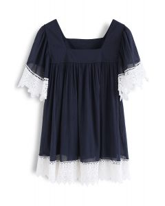 Chase Crochet Dream Dolly Top in Navy