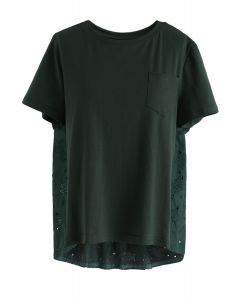 Ideal Combination Embroidered Hi-Lo Top in Dark Green