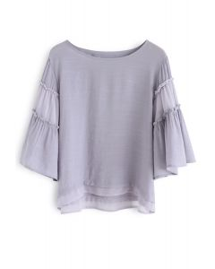 Float on Flare Sleeves Top in Grey