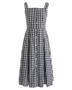 Gingham Delight Button Through Cami Dress