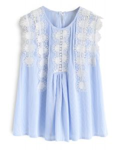 Daily Delights Floral Crochet Trims Stripe Top in Blue