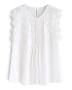 Daily Delights Floral Crochet Trims Stripe Top in White