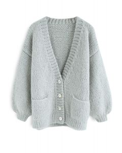 Pause for the Cozy Chunky Hand Knit Cardigan in Mint