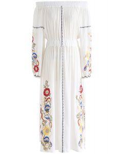 Sunshine Vibe Embroidered Off-Shoulder Dress in White