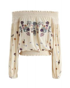 Never Get Bored Embroidered Off-Shoulder Top