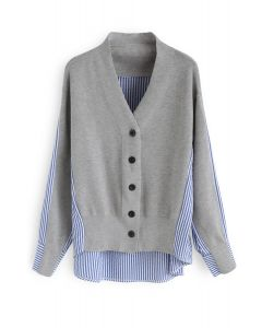 Magic Combination Stripes Knit Cardigan in Grey