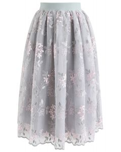 Let It Bloom Floral Embroidered Skirt in Grey