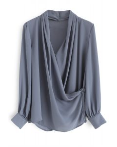 Make Things Right Wrap Top in Dusty Blue