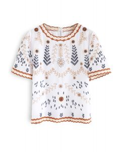 Adorable Boho Style Embroidered Top in White