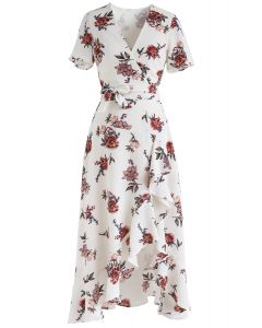 Midsummer Lover Floral Asymmetric Top and Skirt Set in White