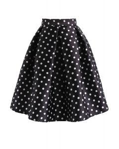 Cuteness Comeback Polka Dots A-Line Skirt in Black