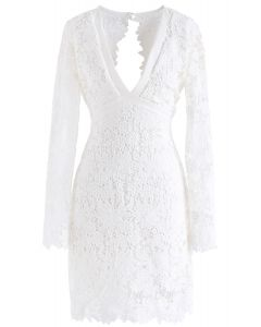 Love To Be Crochet Shift Dress in White