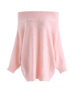 Recording Dreams Off-Shoulder Longline Sweater in Pink