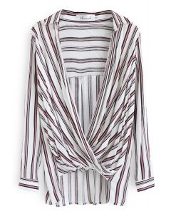 Make Things Right Wrap Top in Red Stripes