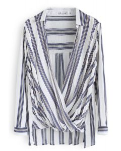 Make Things Right Wrap Top in Blue Stripes
