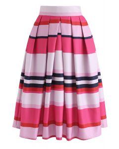 Stayin' Alive Colorful Stripes Printed Midi Skirt