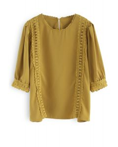 Finest Afternoon Crochet Top in Mustard