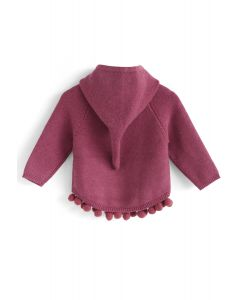 Bouncing Fun Hooded Sweater in Berry For Kids