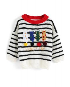 Cats Sit Together Stripes Sweater For Kids