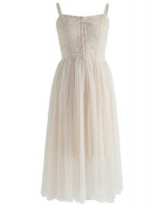 Sparkling Tulle Cami Dress in Cream