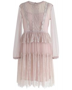 Sweet Days Ruffle Lace Mesh Dress in Pink