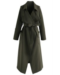 Downtown Open Front Chiffon Trench Coat in Army Green