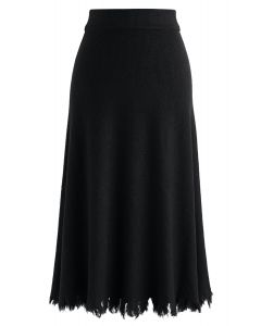 Love Yourself Ribbed Knit Skirt in Black