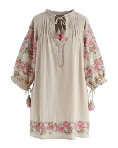 Boho Florist Tassel Embroidered Tunic in Sand