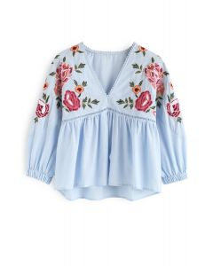 In the Name of Embroidery Dolly Top in Blue