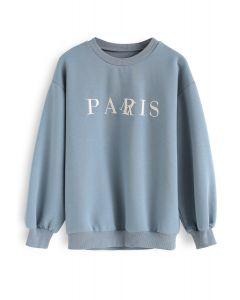 Paris Embroidery Sweatshirt in Blue