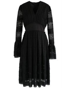 Exclusive Glamour V-Neck Crochet Lace Dress in Black