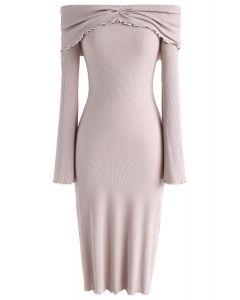 Dream More Off-Shoulder Knit Dress in Nude Pink