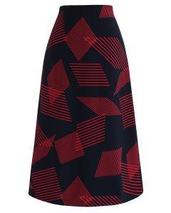 Contrast Stripes Midi Skirt in Navy