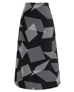Contrast Stripes Midi Skirt in Black
