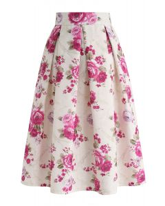 Floral Vintage Embossed Pleated Midi Skirt in Cream