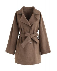Peppy and Ready Double-Breasted Wool-Blend Coat in Brown