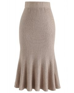 Show Your Curve Flare Hem Knit Skirt in Tan