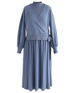 Found My Soulmate Knit Twinset Dress in Blue