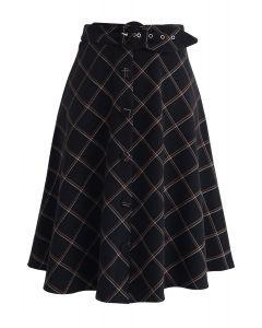Weekday Unwind Belted Wool-Blend Skirt in Black