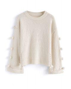 Warming Signal Pom-Pom Knit Sweater in Cream