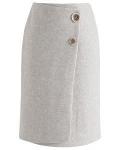 Must Pick You Wool-Blended Skirt in Sand
