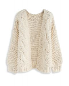 Good To Be Chunky Knit Cardigan in Cream