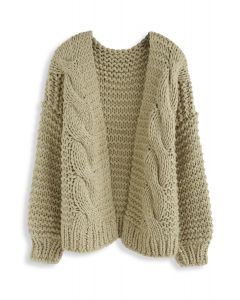 Good To Be Chunky Knit Cardigan in Light Olive