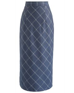 Elegant Edges Grid Pencil Skirt in Blue