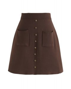 Charm in This Way Mini Knit Skirt in Brown