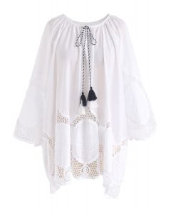 Let it Breathe Floral Crochet Tunic in White