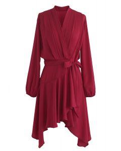 Living in the Spotlight Asymmetric Wrap Dress in Red