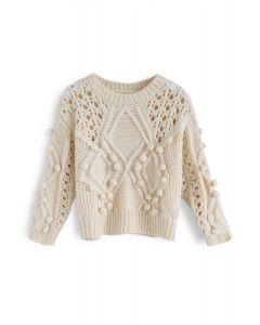 Eyelet Charm Yarn Balls Knit Sweater For Kids