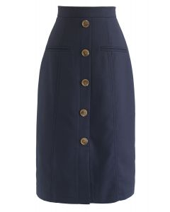 Stay Together Button Midi Skirt in Navy